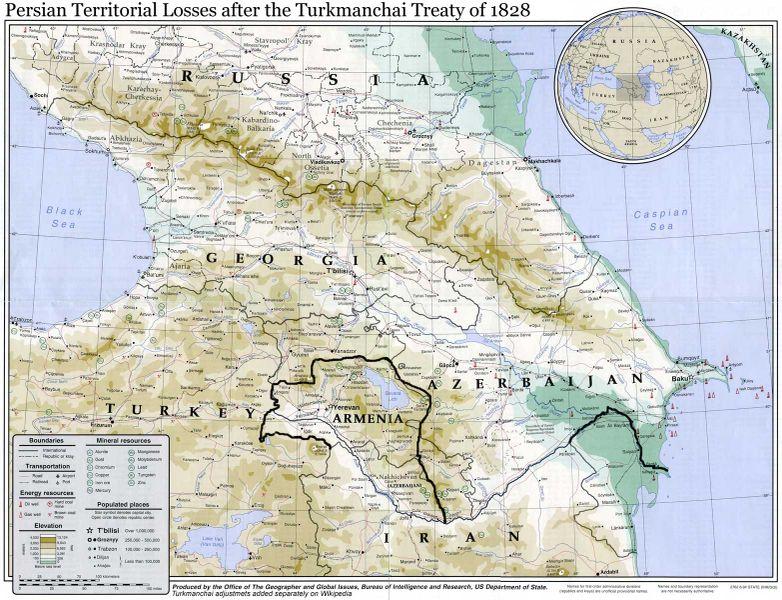 مرزهای ایران و روسیه پیش از ترکمنچای